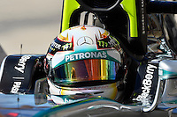 Lewis Hamilton of Mercedes AMG Petronas F1 driving (44) F1 WO5 Hybrid, in the pit road during second practice session of  2014 Formula 1 United States Grand Prix, Friday, October 31, 2014 in Austin, Tex. (Mo Khursheed/TFV Media via AP Images)