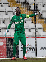 Goalkeeper Emmanuel Mifsud of AS Monaco FC Youth during the UEFA Youth League round of 16 match between Tottenham Hotspur U19 and Monaco at Lamex Stadium, Stevenage, England on 21 February 2018. Photo by Andy Rowland.