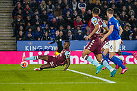 9th March 2020; King Power Stadium, Leicester, Midlands, England; English Premier League Football, Leicester City versus Aston Villa; Mbwana Samatta of Aston Villa misses a  great chance in front of goal