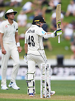 29th November 2019, Hamilton, New Zealand;  Tom Latham 50 not out on day 1 of the 2nd international cricket test match between New Zealand and England at Seddon Park, Hamilton, New Zealand. Friday 29 November 2019