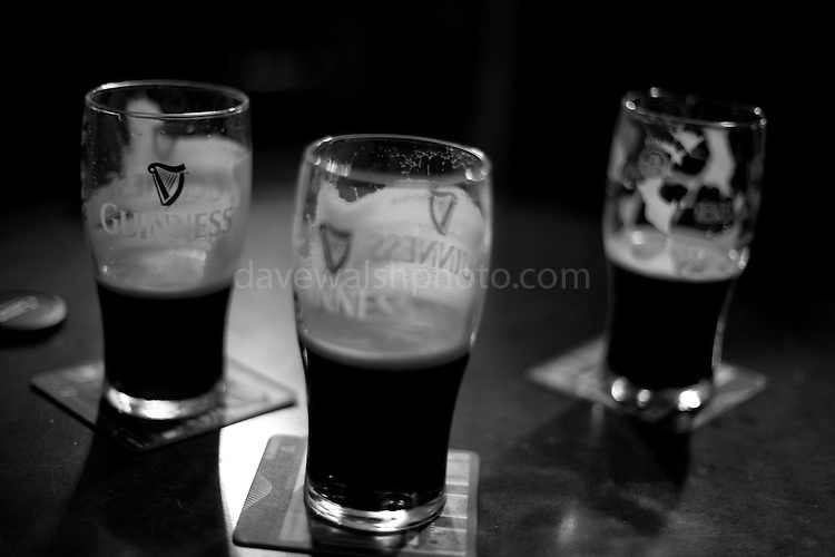 Pints on the table, in the Long Hall pub, Dublin, Christmas 2010