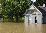USA, Missouri, Cottage house in flood
