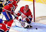 14 December 2009: Montreal Canadiens' goaltender Jaroslav Halak makes a first period save against the Buffalo Sabres at the Bell Centre in Montreal, Quebec, Canada. The Sabres defeated the Canadiens 4-3. Mandatory Credit: Ed Wolfstein Photo