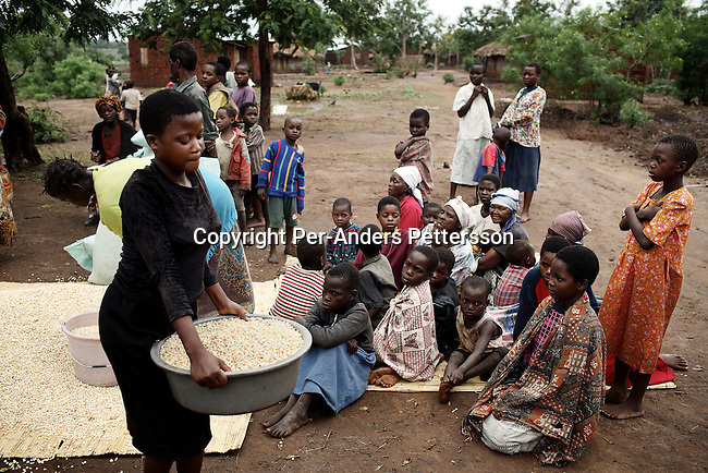 GALUFU, MALAWI NOVEMBER 9: Dorothy Kagona, age 14, (l) an Aids orphan, receives maize after a donation has been received by a local NGO on November 9, 2005 in Galufu, Malawi. There are about 378 orphans in the village out of about 1500 residents. Only the orphans received food and many others looked on. Most people in the village are poor and hungry, and cannot afford to buy maize at the local market. The price is twice as much as the government subsidized prices. The government used to sell subsidized maize and fertilizer but not anymore. Many in the village eat mangoes and even boil unripe ones, as they cannot afford to buy anything else. The harvest was very bad in 2005 and the next one, due in April 2006 I uncertain because of lack of rains and drought. The village has seen an increase in poverty the last few years due to drought and HIV/Aids. Southern Africa has been hit by a severe hunger crisis due to drought and poverty. An ever-increasing HIV/Aids rate adds to the misery. Malawi is one of the worst hit areas and Galufu village is a typical small village that has become victim of this poverty spiral. (Photo by Per-Anders Pettersson)