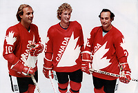 Team Canada avec Guy Lafleur, Wayne Gretzky,Mike Bossy,Larry Robinson<br /> ( hockey), le aout 1981<br /> <br /> PHOTO : Agence Quebec Presse
