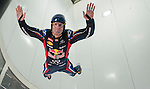Red Bull Racing driver Mark Webber of Australia practices indoor skydiving in a vertical wind tunnel with top skydiver Jon DeVore (not pictured) of USA during the filming of the second of Infiniti's Inspired Performers' series on June 06, 2012 in Montreal. Photo by Victor Fraile / The Power of Sport Images for Prism/Infiniti