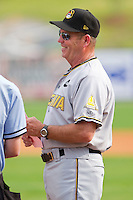 West Virginia Power manager Gary Robinson #45 prior to the South Atlantic League game against the Kannapolis Intimidators at Fieldcrest Cannon Stadium on April 20, 2011 in Kannapolis, North Carolina.   Photo by Brian Westerholt / Four Seam Images