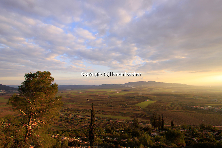 Israel, Lower Galilee, a view of Jezreel valley from Bet Keshet Scenic Road