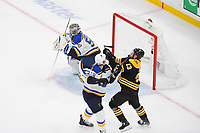 June 6, 2019: St. Louis Blues defenseman Jay Bouwmeester (19) battles Boston Bruins center Charlie Coyle (13) during game 5 of the NHL Stanley Cup Finals between the St Louis Blues and the Boston Bruins held at TD Garden, in Boston, Mass. The Blues defeat the Bruins 2-1 in regulation time. Eric Canha/CSM