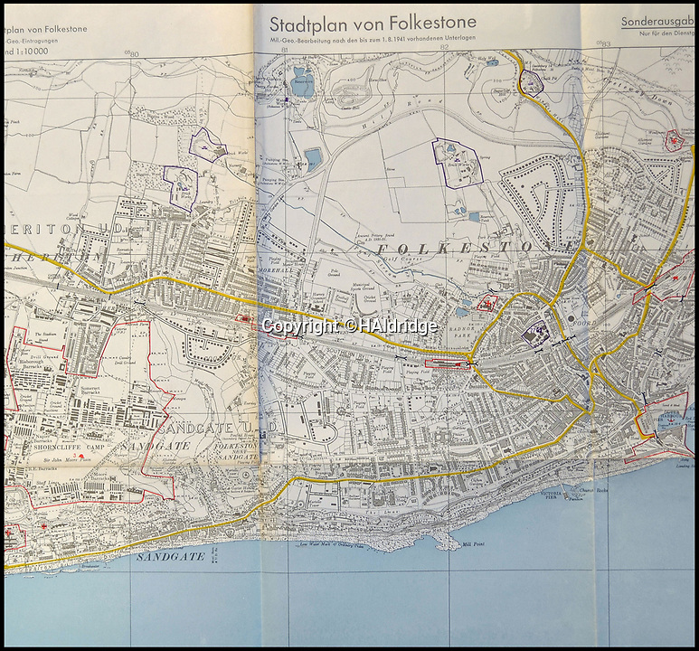 BNPS.co.uk (01202 558833)<br /> Pic: HAldridge/BNPS<br /> <br /> Folkstone - The Germans had access to detailed maps of south coast sites showing key targets.<br /> <br /> A top secret post war analysis by British Naval intelligence that offers a detailed and chilling account of the German equivalent of the D-Day landings has been uncovered.<br /> <br /> The volume was compiled by the British based on documents recovered in German naval archives after the war that outlined the Nazi invasion of the UK.<br /> <br /> And the blueprint for Operation Sealion that was to have taken place in September 1940 is remarkably similar to Operation Overlord - the Allied invasion of Normandy - four years later.<br /> <br /> Adolf Hitler identified five different sectors of the English coast to attack with 600,000 men ; from Ramsgate in Kent in the east to Selsey Bill in West Sussex in the west.