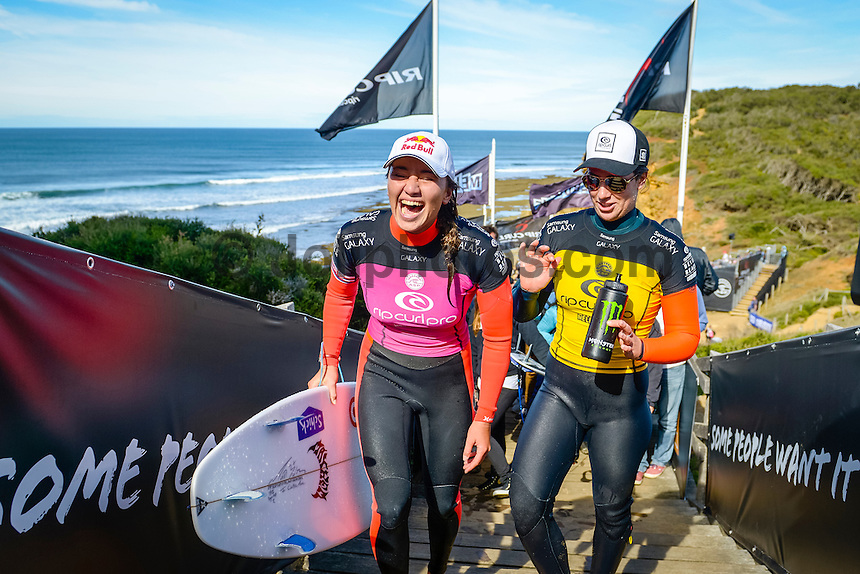 Bells Beach, Torquay Victoria, Australia. (Wednesday April 23, 2014) Carissa Moore (HAW) and Tyler Wright (AUS) &ndash;  The 2014  Rip Curl Pro at Bells Beach wrapped up today with the completion of men's and women's events in clean 4' surf at Bells Beach and Winki Pop. Australia's Mick Fanning claimed Bell number 3 with his win over Taj Burrow (AUS) in the final held at Winki Pop while Hawaiian Carissa Moore   defeated Tyler Wright (AUS). The men's semi's and final were moved to Winki when high tide conditions made surfing at Bells difficult. <br /> Photo: joliphotos.com