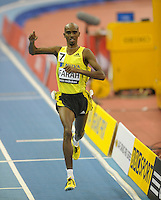 Photo: Ady Kerry/Richard Lane Photography..Aviva Grand Prix. 21/02/2009. .Mo Farah wins the 300m in a new bBritish Record time