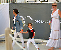 MIAMI BEACH, FL - APRIL 07: (EXCLUSIVE COVERAGE) Billionaire and former Mayor of New York Michael Bloomberg is seen leaving horse jumping with daughters Emma Bloomberg, Georgina Bloomberg along with her son Jasper Michael Brown Quintana and her boyfriend Carlos Arruza Jr at the Longines Global Champions Tour stop day 3 in Miami Beach on April 7, 2018 in Miami Beach, Florida.<br /> People:  Emma Bloomberg, Georgina Bloomberg, Jasper Quintana <br /> CAP/MPI122<br /> &copy;MPI122/Capital Pictures