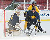 Rasmus Tirronen (Merrimack - 32), Quinn Gould (Merrimack - 10), Josh Myers (Merrimack - 23) -  - The participating teams in Hockey East's first doubleheader during Frozen Fenway practiced on January 3, 2014 at Fenway Park in Boston, Massachusetts.