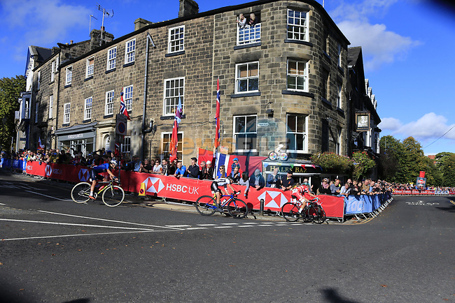 Cecilie Uttrup Ludwig (DEN), Clara Koppenburg (GER) and Soraya Paladin (ITA) on the first circuit of Harrogate during the Women Elite Road Race of the UCI World Championships 2019 running 149.4km from Bradford to Harrogate, England. 28th September 2019.<br /> Picture: Eoin Clarke | Cyclefile<br /> <br /> All photos usage must carry mandatory copyright credit (© Cyclefile | Eoin Clarke)