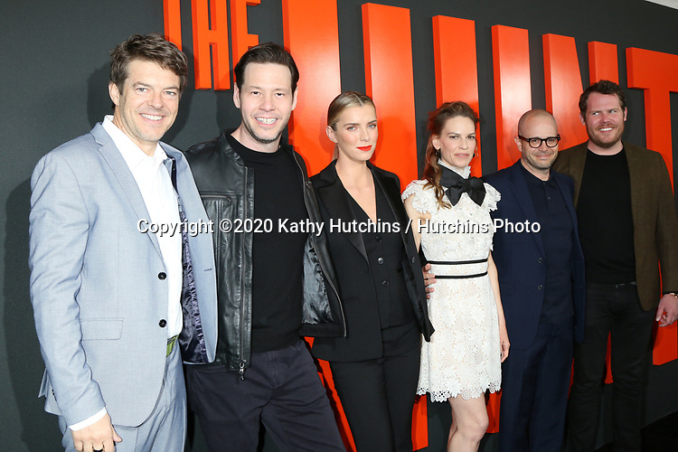 """LOS ANGELES - MAR 9:  Jason Blum, Ike Barinholtz, Betty Gilpin, Hilary Swank, Damon Lindelof, Nick Cuse at the """"The Hunt"""" Premiere at the ArcLight Hollywood on March 9, 2020 in Los Angeles, CA"""