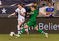 PASADENA, CA - AUGUST 4: Rose Lavelle #16 and Claire O'Riordan #15 fight for the ball during a game between Ireland and USWNT at Rose Bowl on August 3, 2019 in Pasadena, California.