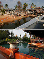 Khao Lak, north of Phuket, Thailand, was severley hit by the Tsunami that struck Asia 26.12.2004. Thousands died when the waves hit without warning. Resorts all along the coast has been rebuilt such the Takolaburi and Palm Galleria (background)..©Fredrik Naumann/Felix Features