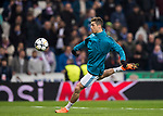 Cristiano Ronaldo of Real Madrid warms up prior to the UEFA Champions League 2017-18 Round of 16 (1st leg) match between Real Madrid vs Paris Saint Germain at Estadio Santiago Bernabeu on February 14 2018 in Madrid, Spain. Photo by Diego Souto / Power Sport Images