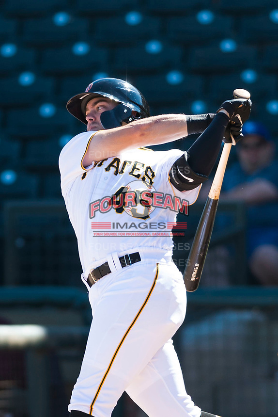 Surprise Saguaros first baseman Will Craig (45), of the Pittsburgh Pirates organization, follows through on his swing during an Arizona Fall League game against the Peoria Javelinas at Surprise Stadium on October 17, 2018 in Surprise, Arizona. (Zachary Lucy/Four Seam Images)