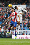 Real Madrid´s Raphael Varane and Sporting de Gijon´s Guerrero during 2015/16 La Liga match between Real Madrid and Sporting de Gijon at Santiago Bernabeu stadium in Madrid, Spain. January 17, 2015. (ALTERPHOTOS/Victor Blanco)