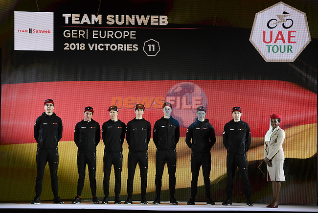 Team Sunweb on stage at the inaugural UAE Tour 2019 opening ceremony and team presentation held in the Louvre Abu Dhabi, United Arab Emirates. 23rd February 2019.<br /> Picture: LaPresse/Fabio Ferrari | Cyclefile<br /> <br /> <br /> All photos usage must carry mandatory copyright credit (© Cyclefile | LaPresse/Fabio Ferrari)