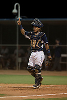 AZL Padres 2 catcher Alison Quintero (7) during an Arizona League game against the AZL Padres 1 at Peoria Sports Complex on July 14, 2018 in Peoria, Arizona. The AZL Padres 1 defeated the AZL Padres 2 4-0. (Zachary Lucy/Four Seam Images)