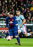 Lionel Andres Messi (L) of FC Barcelona is followed by Jonathan Castro Otto, Jonny, of RC Celta de Vigo during the Copa Del Rey 2017-18 Round of 16 (2nd leg) match between FC Barcelona and RC Celta de Vigo at Camp Nou on 11 January 2018 in Barcelona, Spain. Photo by Vicens Gimenez / Power Sport Images