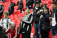 Pictured: Swansea supporters at Wembley Stadium. Sunday 24 February 2013<br />