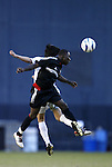 17 October 2004: Freddy Adu (front) and Joselito Vaca (behind) challenge for a header in the first half. DC United defeated the MetroStars 3-2 at RFK Stadium in Washington, DC during a regular season Major League Soccer game..