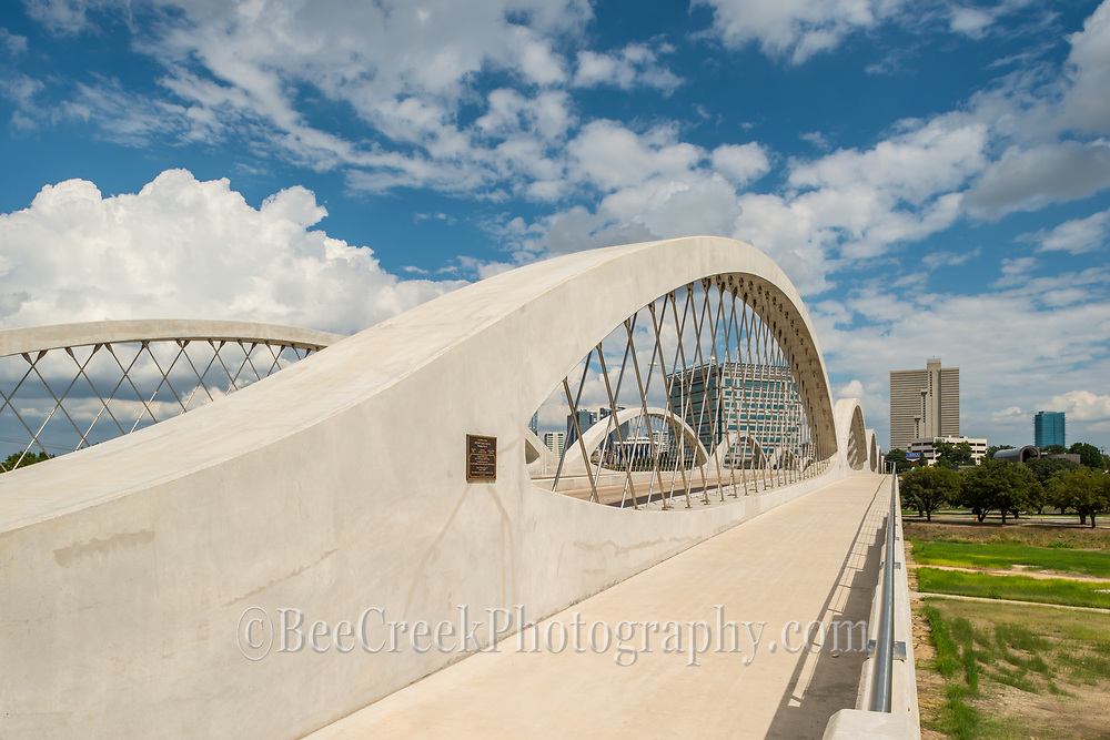 A close up view of the modern achitecture on this urban Seventh Street Bridge in Fort Worth Texas. The 7th street bridge crosses over the Trinity River to join downtown to the university area of town.