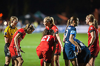 Kansas City, Mo. - Saturday April 23, 2016: Portland Thorns FC midfielder Allie Long (10) argues for a penalty kick on a foul at the edge of the box. FC Kansas City hosts Portland Thorns FC at Swope Soccer Village.