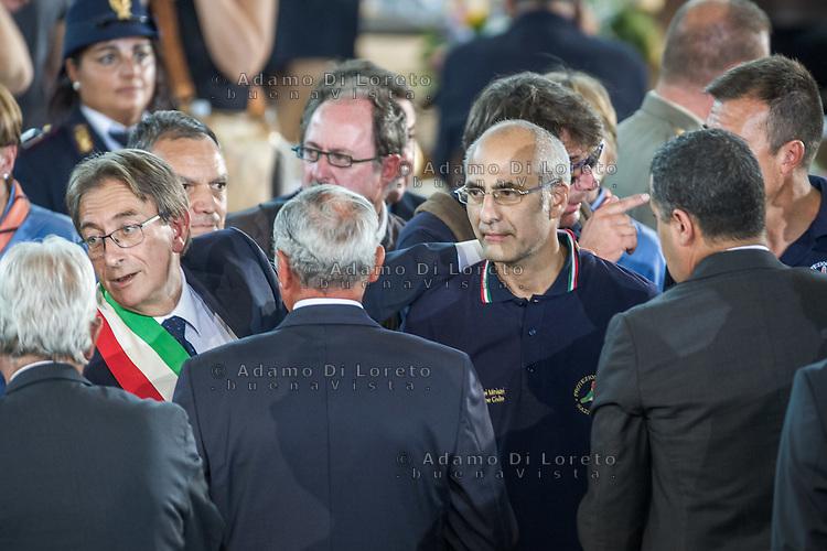 Mayor of L'Aquila City Cialente and the chief of Protezione civile Fabrizio Curcio Funeral earthquake on PalaSport Monticelli in Ascoli Piceno  August 27, 2016, in Marche, Italy. Photo by Adamo Di Loreto