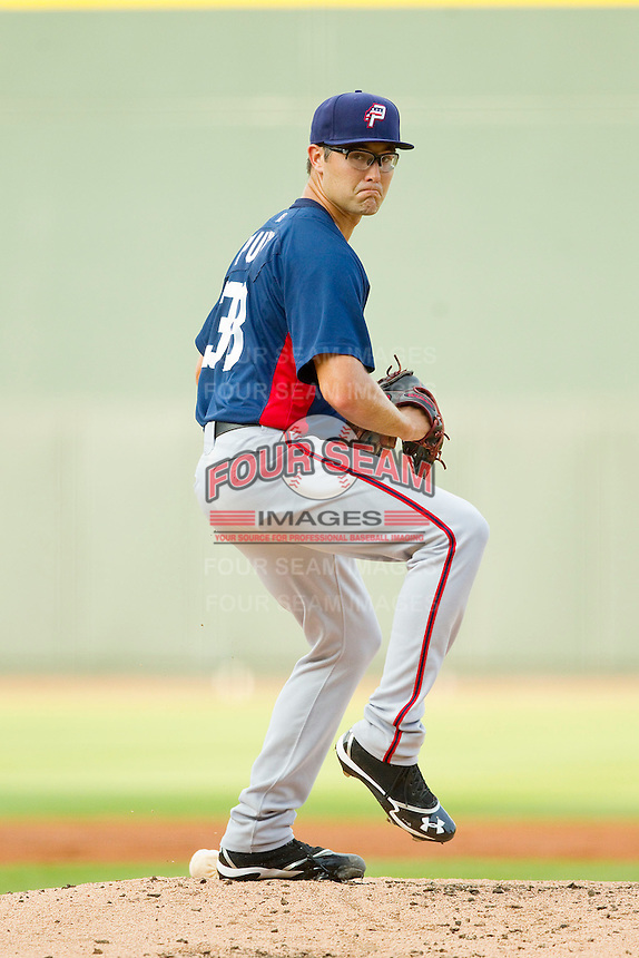 Potomac Nationals starting pitcher Matt Purke (38) in action against the Winston-Salem Dash at BB&T Ballpark on July 8, 2013 in Winston-Salem, North Carolina.  The Dash defeated the Nationals 12-9.  (Brian Westerholt/Four Seam Images)