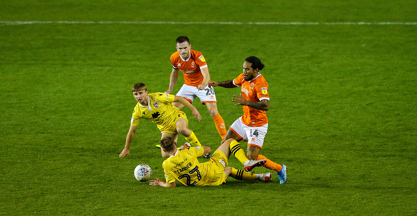 Morecambe's George Tanner is tackled by Blackpool's Sean Scannell<br /> <br /> Photographer Alex Dodd/CameraSport<br /> <br /> EFL Leasing.com Trophy - Northern Section - Group G - Blackpool v Morecambe - Tuesday 3rd September 2019 - Bloomfield Road - Blackpool<br />  <br /> World Copyright © 2018 CameraSport. All rights reserved. 43 Linden Ave. Countesthorpe. Leicester. England. LE8 5PG - Tel: +44 (0) 116 277 4147 - admin@camerasport.com - www.camerasport.com