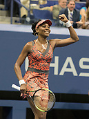 5th September 2017, Flushing Meadowns, New York, USA;  Venus Williams (USA) celebrates her quarter-final match at the US Open, played on September 5, 2017, at the USTA Billie Jean King National Tennis Center in Flushing Meadow