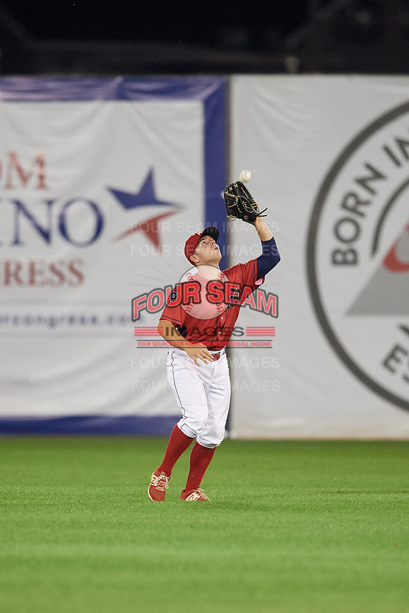 Williamsport Crosscutters center fielder Ben Aklinski (38) catches a fly ball during a game against the Mahoning Valley Scrappers on August 28, 2018 at BB&T Ballpark in Williamsport, Pennsylvania.  Williamsport defeated Mahoning Valley 8-0.  (Mike Janes/Four Seam Images)
