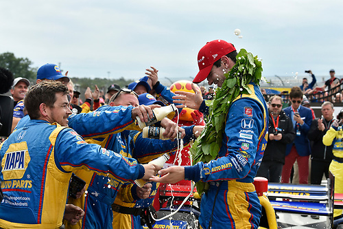 Verizon IndyCar Series<br /> IndyCar Grand Prix at the Glen<br /> Watkins Glen International, Watkins Glen, NY USA<br /> Sunday 3 September 2017<br /> Alexander Rossi, Curb Andretti Herta Autosport with Curb-Agajanian Honda celebrates the win with team in victory lane.<br /> World Copyright: Scott R LePage<br /> LAT Images<br /> ref: Digital Image lepage-170903-wg-7856
