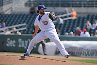 Iowa Cubs Brandon Gomes (15) throws during the game against the New Orleans Zephyrs at Principal Park on April 14, 2016 in Des Moines, Iowa.  The Cubs won 4-2 .  (Dennis Hubbard/Four Seam Images)