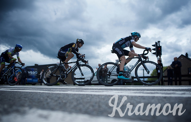 Petr Vakoc (CZE/Etixx-QuickStep) coming through a corner, followed closely by Jacques Janse van Rensburg (ZAF/MTN-Qhubeka)<br /> <br /> 101th Liège-Bastogne-Liège 2015