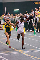 Missouri Southern's Jasmin Hughes outleans Lincoln's Michelle Cumberbatch for 3rd place in the 200 meter final at the 2012 MIAA Indoor Conference Track & Field Championships at Missouri Southern in Joplin, Sunday, February 26.