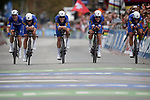 Quick-Step Floors cross the finish line to win the Men's Elite Team Time Trial of the 2018 UCI Road World Championships running 62.8km from &Ouml;tztal to Innsbruck, Innsbruck-Tirol, Austria 2018. 23rd September 2018.<br /> Picture: Innsbruck-Tirol 2018/BettiniPhoto | Cyclefile<br /> <br /> <br /> All photos usage must carry mandatory copyright credit (&copy; Cyclefile | Innsbruck-Tirol 2018/BettiniPhoto)