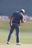 Brooks Koepka (USA) reacts to making a par saving putt on the 14th hole during the 118th U.S. Open Championship at Shinnecock Hills Golf Club in Southampton, NY, USA. 17th June 2018.<br /> Picture: Golffile | Brian Spurlock<br /> <br /> <br /> All photo usage must carry mandatory copyright credit (&copy; Golffile | Brian Spurlock)