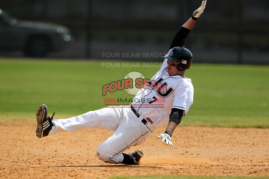 Long Island Blackbirds first baseman Tito Marrero #7 during a game vs Chicago State at Lake Myrtle Main Field in Auburndale, Florida;  March 16, 2011.  Long Island defeated Chicago State 9-8.  Photo By Mike Janes/Four Seam Images