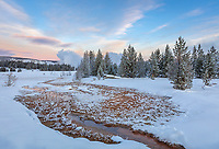 Yellowstone National Park, WY: Thermal pool in the Upper Geyser Basin at dawn