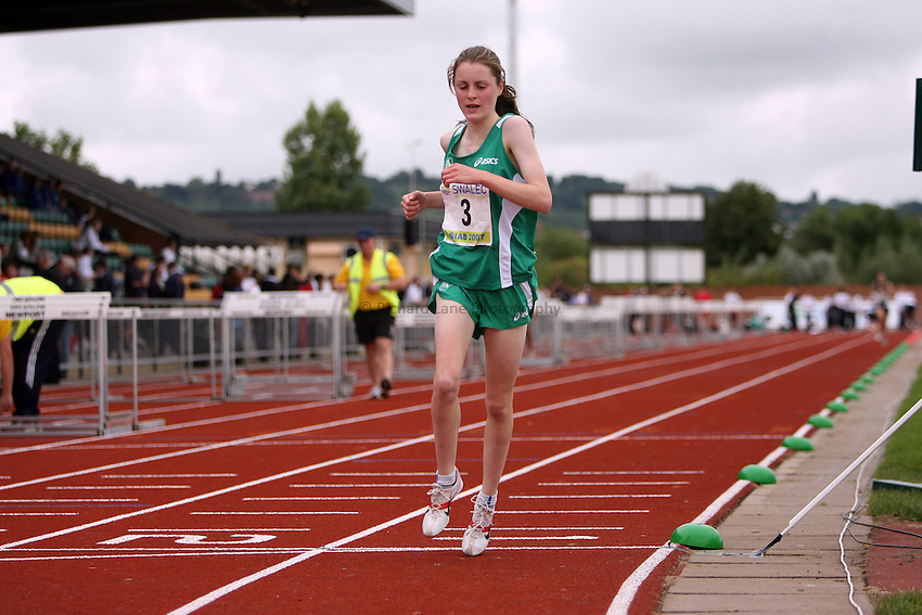 Photo: Rich Eaton...Schools International Athletic Board, Track & Field International Match, Newport. 21/07/2007. Ciara Mageen of Ireland comes second in the girls 3000m.