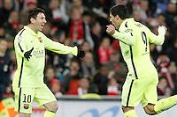FC Barcelona's Leo Messi (l) and Luis Suarez celebrate goal during La Liga match.February 8,2015. (ALTERPHOTOS/Acero) /NORTEphoto.com