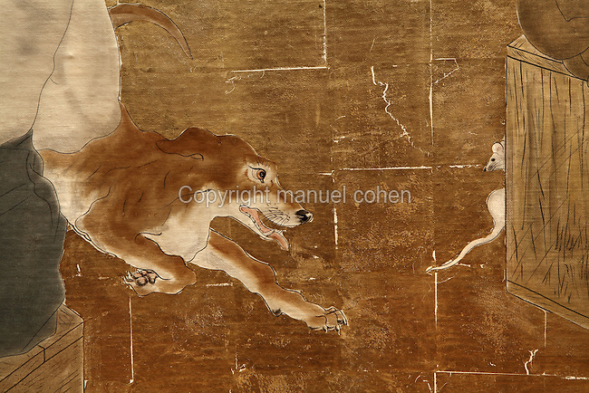 Chien, L'arrivée des occidentaux au Japon (detail), Tsuguharu Foujita (Leonard Foujita or Fujit, 1886-1968), 1929, huile, toile, feuille d'or, 300cm x 600cm, Maison du Japon, Cite Internationale Universitaire de Paris, France. Photo Manuel Cohen..Dog, Westerners come to Japan (detail), Tsuguharu Foujita (Leonard Foujita or Fujita, 1886-1968), 1929, oil, canvas, golden leaf, 300cm x 600cm, Maison du Japon (Japan House), Cite Internationale Universitaire de Paris, France. Picture by Manuel Cohen. L'autorisation de reproduire cette oeuvre doit etre demandée auprès de l'ADAGP/Permission to reproduce this work of art must be obtained from DACS.