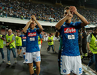 Piotr Zielinski and Arkadiusz Milik  at the end the  italian serie a soccer match,  SSC Napoli - Milan      at  the San  Paolo   stadium in Naples  Italy , August 25, 2018