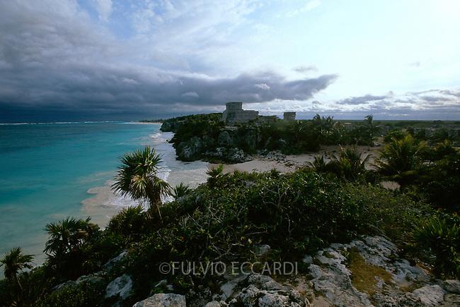 Mexico, Quintana Roo, Tulum, arqueological sites, arqueology, maya, pyramid, architecture, sea, ocean, clouds